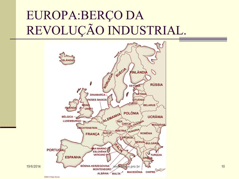 EUROPA:BERÇO DA REVOLUÇÃO INDUSTRIAL.