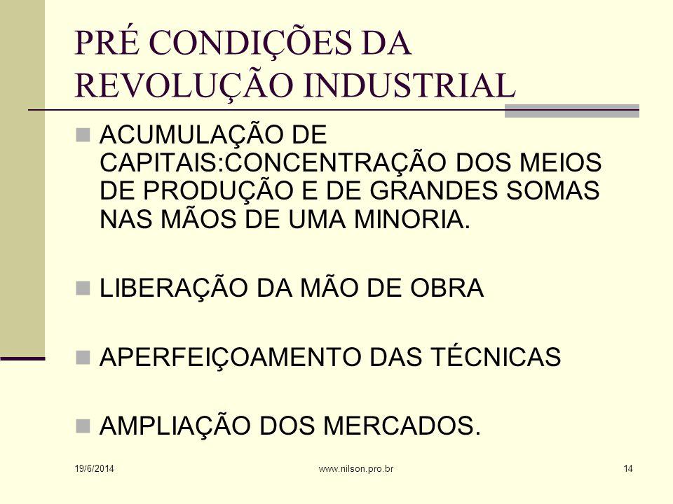 PRÉ CONDIÇÕES DA REVOLUÇÃO INDUSTRIAL