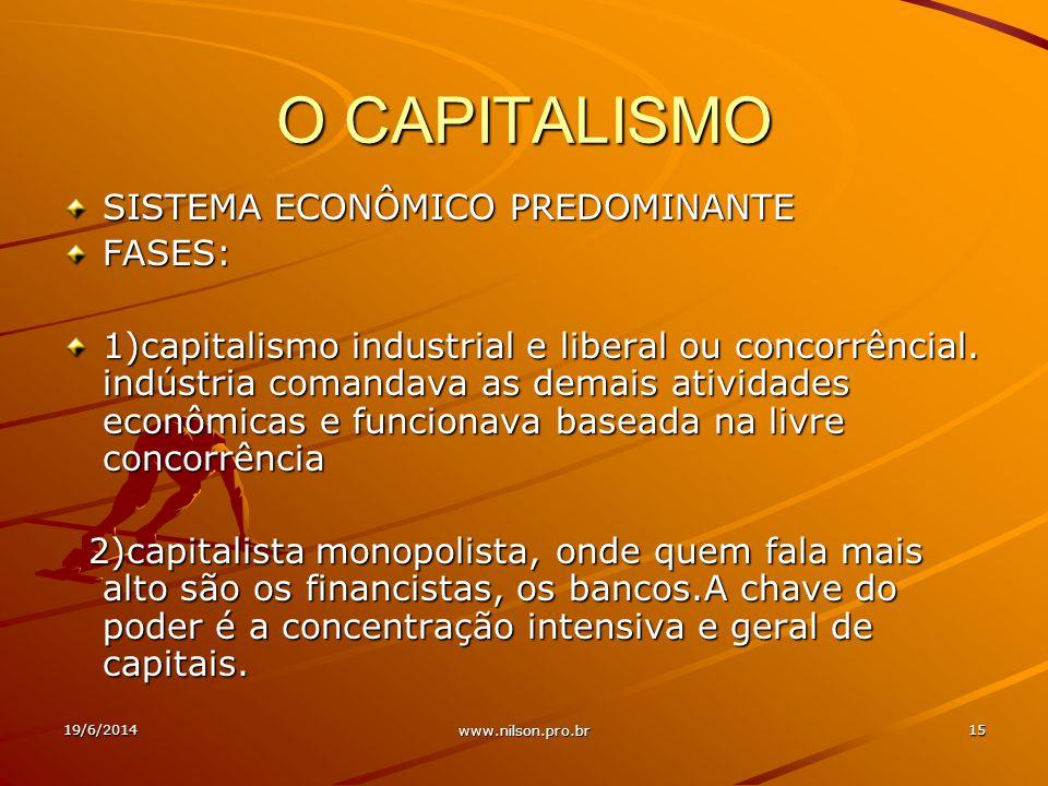 O CAPITALISMO SISTEMA ECONÔMICO PREDOMINANTE FASES: