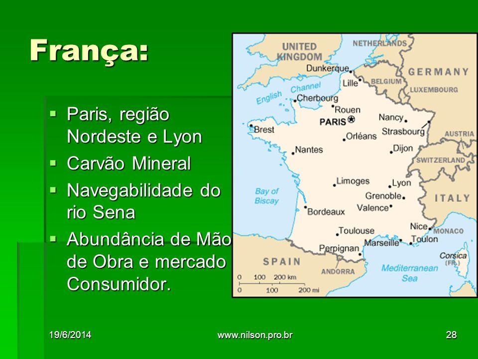 França: Paris, região Nordeste e Lyon Carvão Mineral