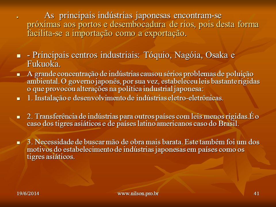 - Principais centros industriais: Tóquio, Nagóia, Osaka e Fukuoka.