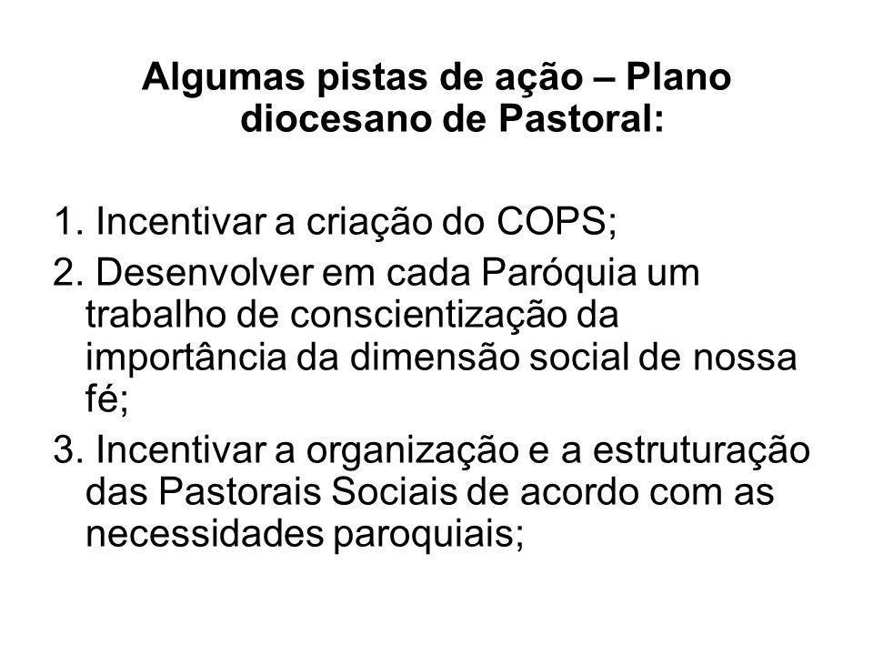 Algumas pistas de ação – Plano diocesano de Pastoral: