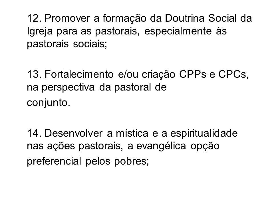 12. Promover a formação da Doutrina Social da Igreja para as pastorais, especialmente às pastorais sociais;