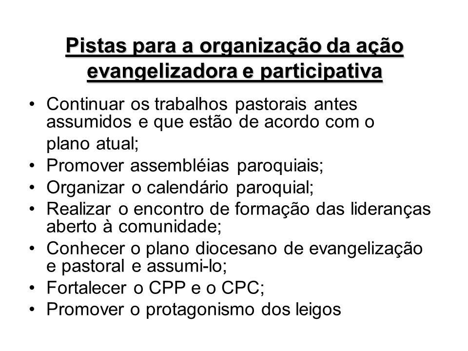 Pistas para a organização da ação evangelizadora e participativa