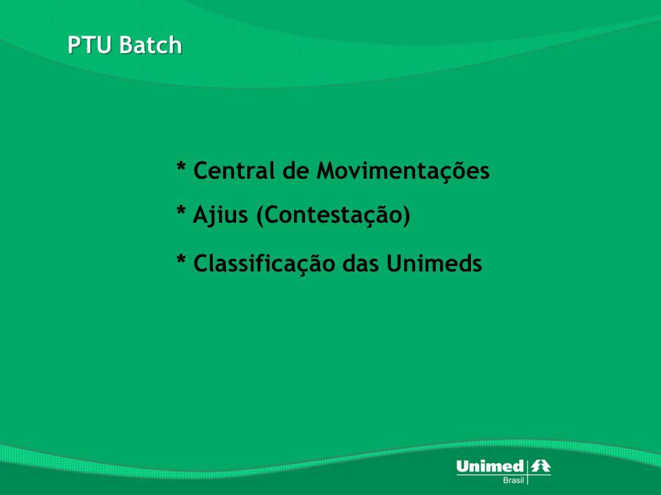 PTU Batch * Central de Movimentações * Ajius (Contestação) * Classificação das Unimeds
