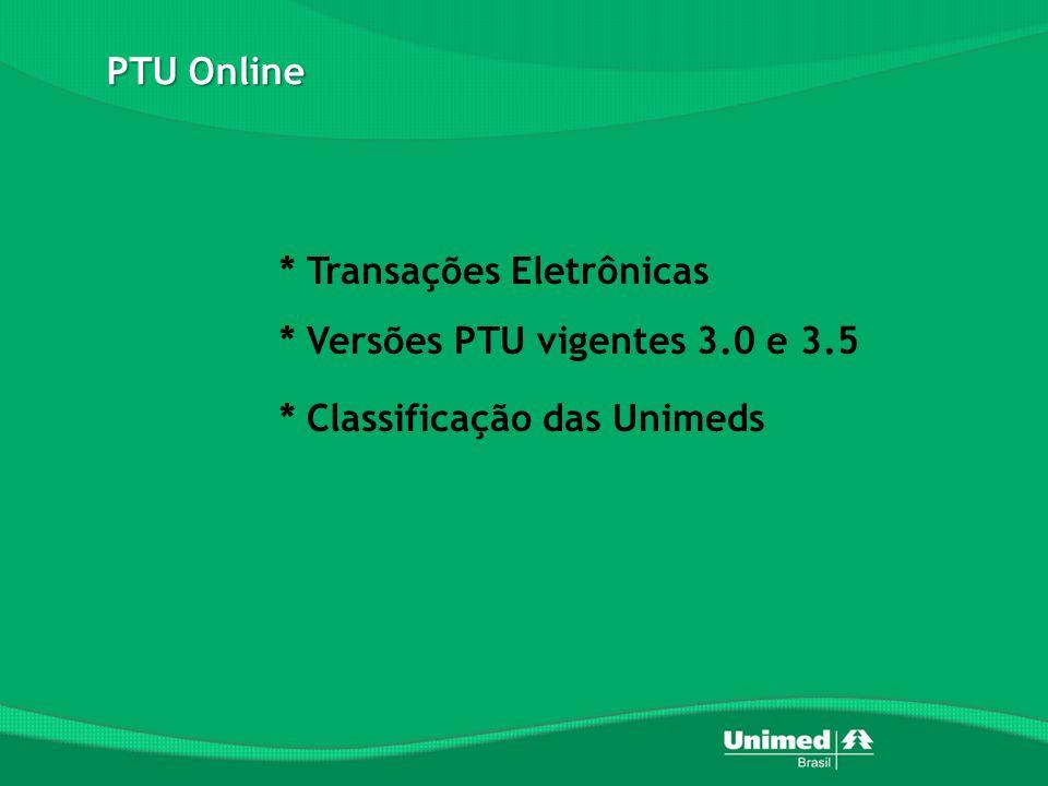 PTU Online * Transações Eletrônicas * Versões PTU vigentes 3.0 e 3.5 * Classificação das Unimeds