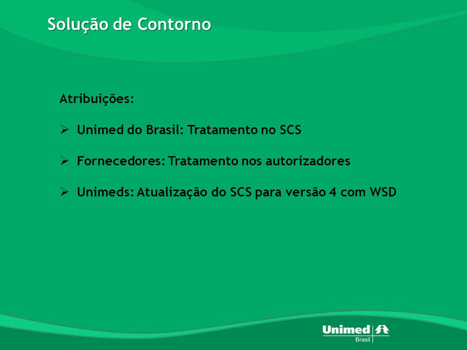 Solução de Contorno Atribuições: Unimed do Brasil: Tratamento no SCS