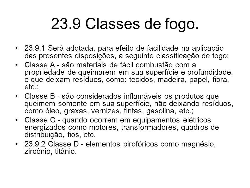 23.9 Classes de fogo. 23.9.1 Será adotada, para efeito de facilidade na aplicação das presentes disposições, a seguinte classificação de fogo: