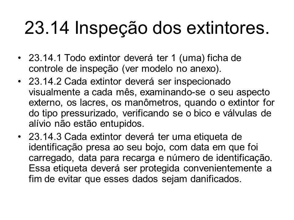 23.14 Inspeção dos extintores.