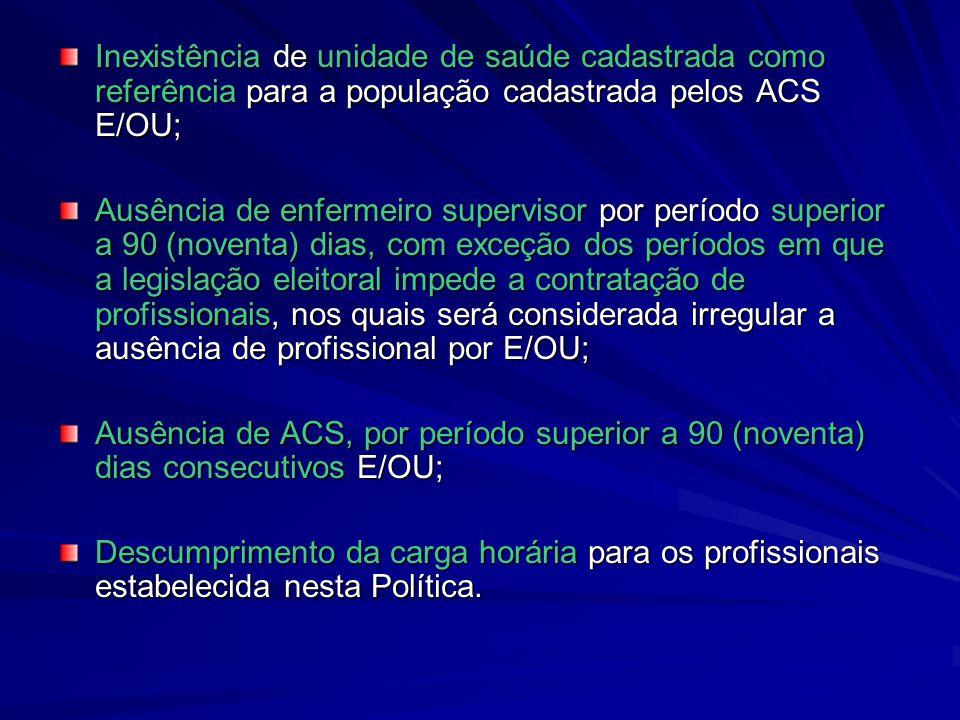 Inexistência de unidade de saúde cadastrada como referência para a população cadastrada pelos ACS E/OU;