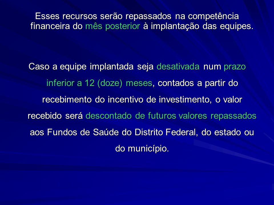 Esses recursos serão repassados na competência financeira do mês posterior à implantação das equipes.