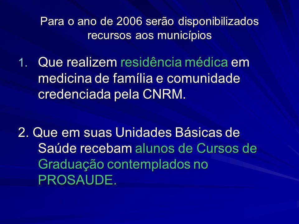 Para o ano de 2006 serão disponibilizados recursos aos municípios