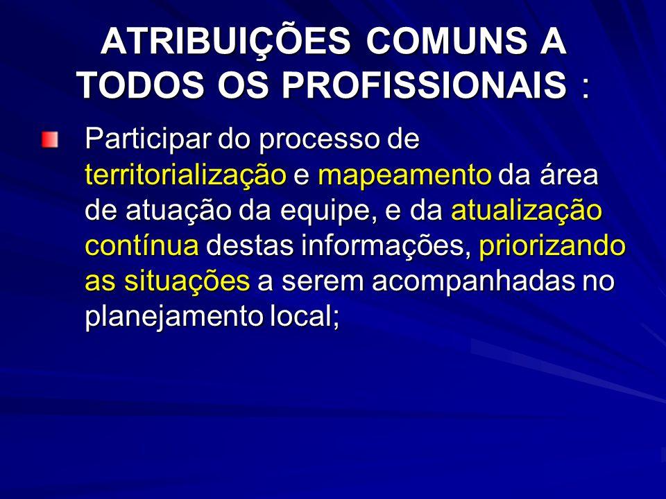 ATRIBUIÇÕES COMUNS A TODOS OS PROFISSIONAIS :