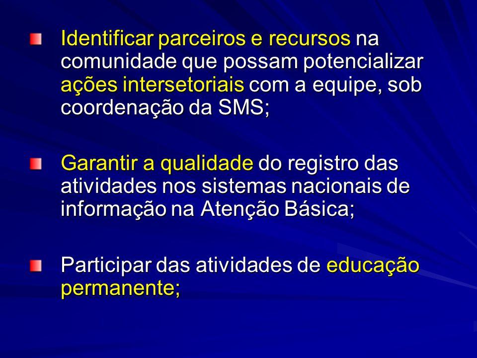 Identificar parceiros e recursos na comunidade que possam potencializar ações intersetoriais com a equipe, sob coordenação da SMS;