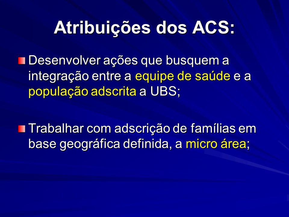 Atribuições dos ACS: Desenvolver ações que busquem a integração entre a equipe de saúde e a população adscrita a UBS;