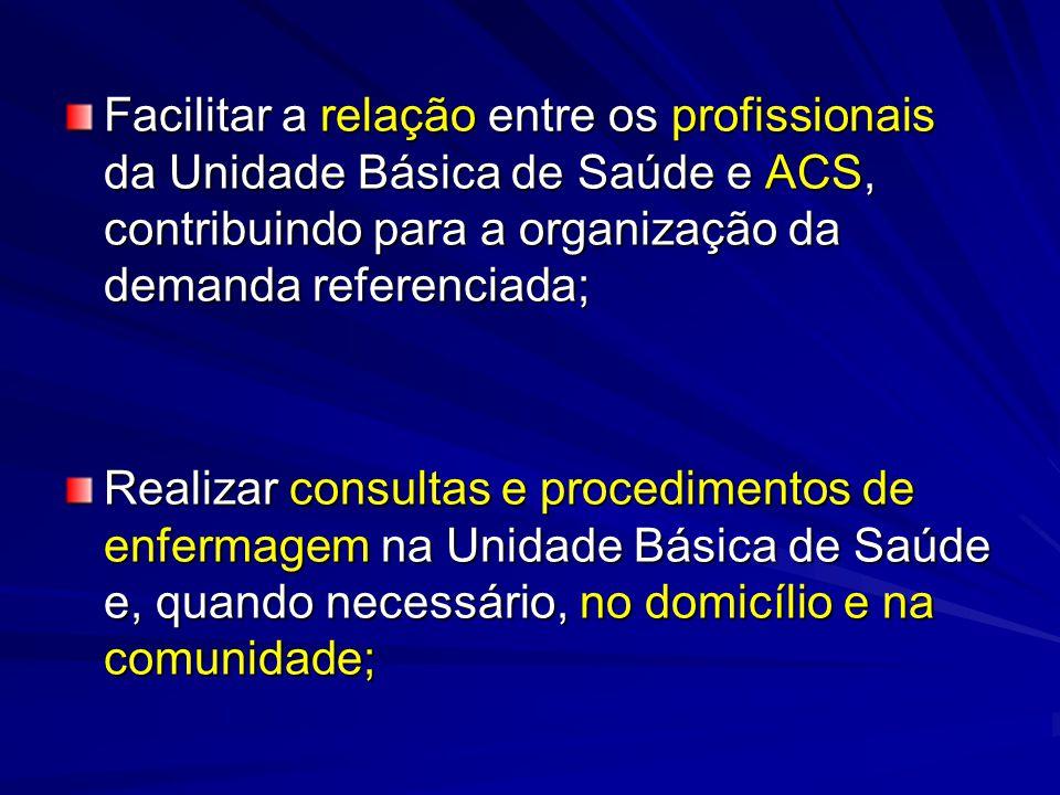 Facilitar a relação entre os profissionais da Unidade Básica de Saúde e ACS, contribuindo para a organização da demanda referenciada;