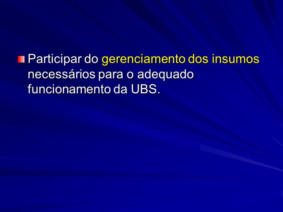 Participar do gerenciamento dos insumos necessários para o adequado funcionamento da UBS.
