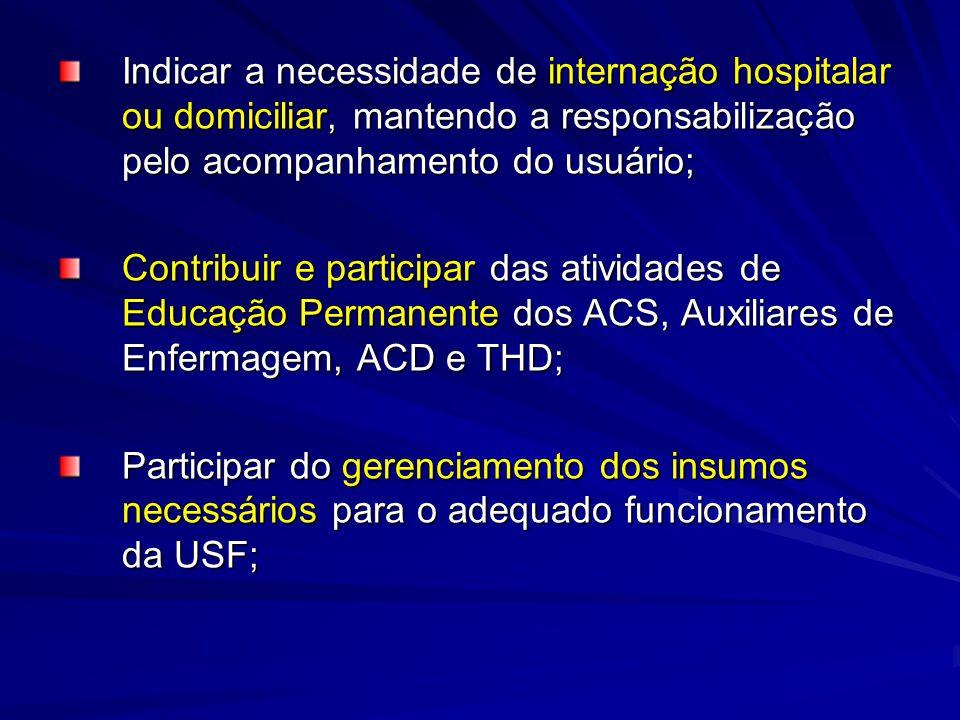 Indicar a necessidade de internação hospitalar ou domiciliar, mantendo a responsabilização pelo acompanhamento do usuário;