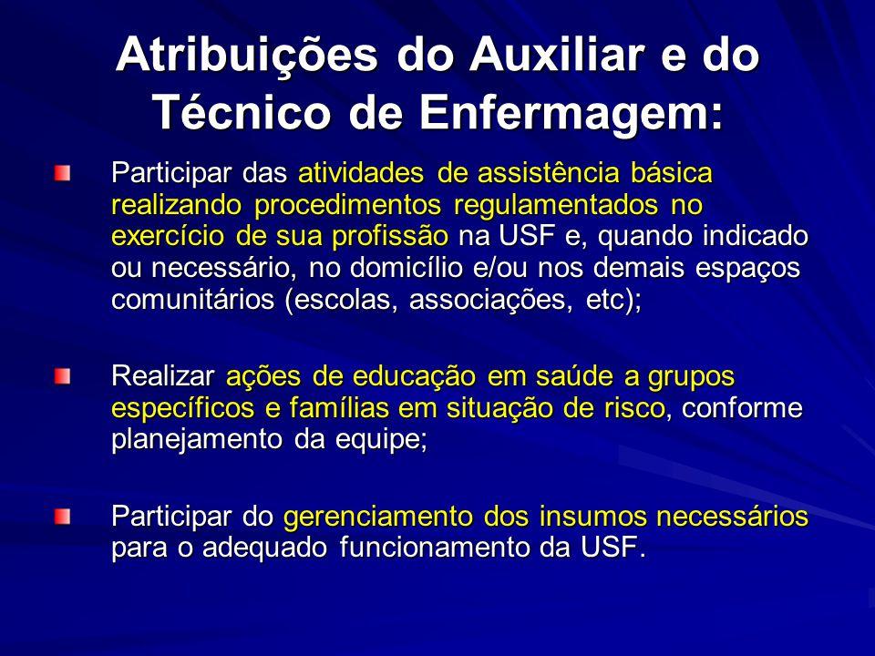 Atribuições do Auxiliar e do Técnico de Enfermagem: