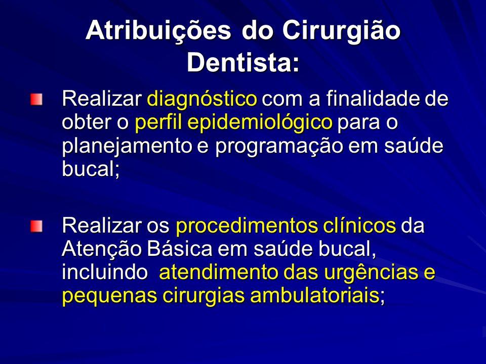 Atribuições do Cirurgião Dentista: