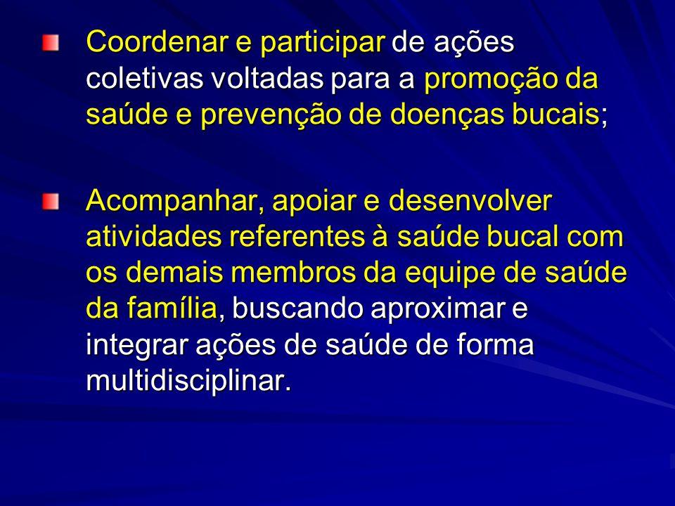 Coordenar e participar de ações coletivas voltadas para a promoção da saúde e prevenção de doenças bucais;