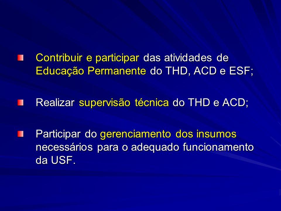 Contribuir e participar das atividades de Educação Permanente do THD, ACD e ESF;