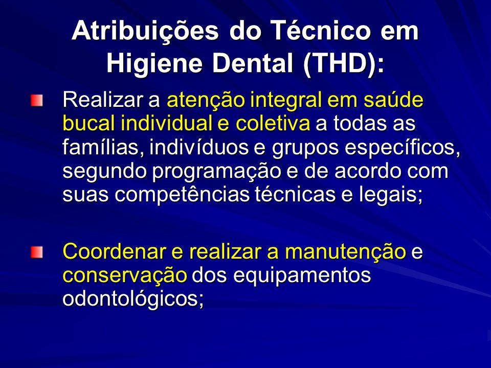 Atribuições do Técnico em Higiene Dental (THD):