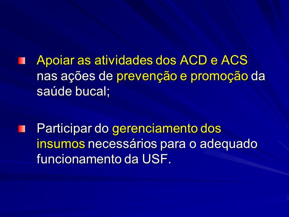 Apoiar as atividades dos ACD e ACS nas ações de prevenção e promoção da saúde bucal;