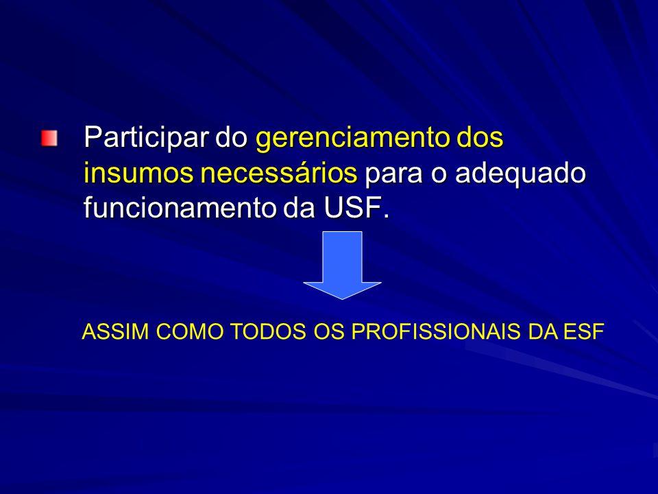 Participar do gerenciamento dos insumos necessários para o adequado funcionamento da USF.