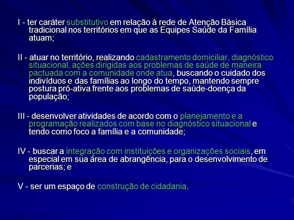 I - ter caráter substitutivo em relação à rede de Atenção Básica tradicional nos territórios em que as Equipes Saúde da Família atuam;