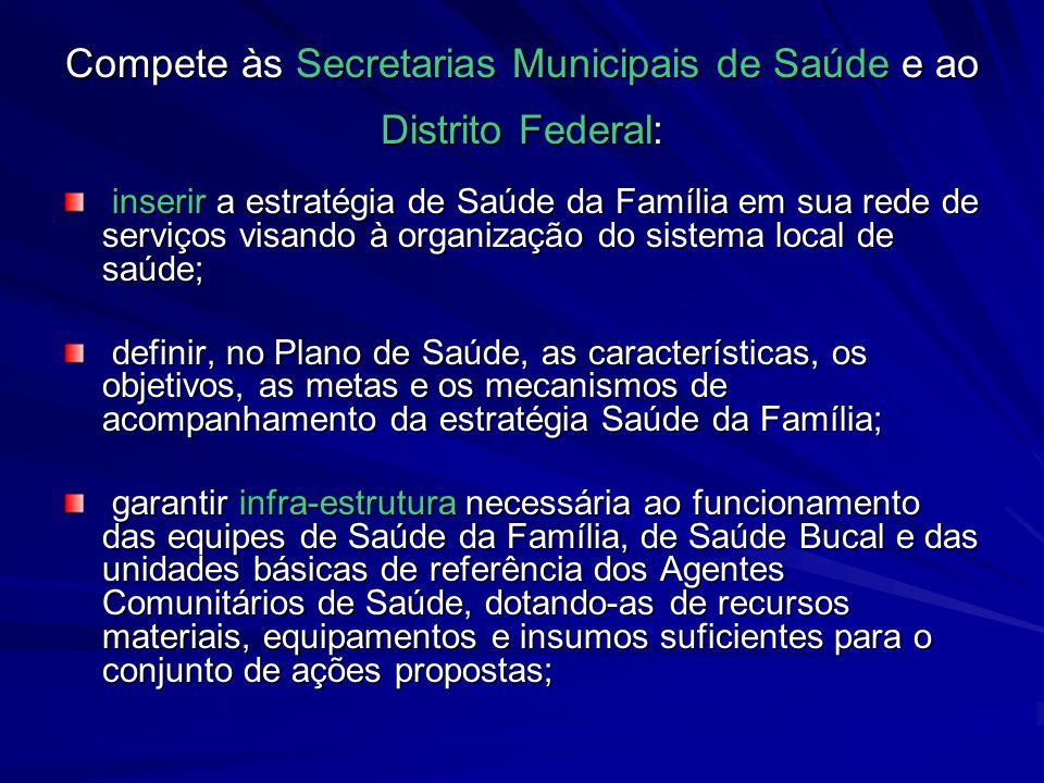 Compete às Secretarias Municipais de Saúde e ao Distrito Federal: