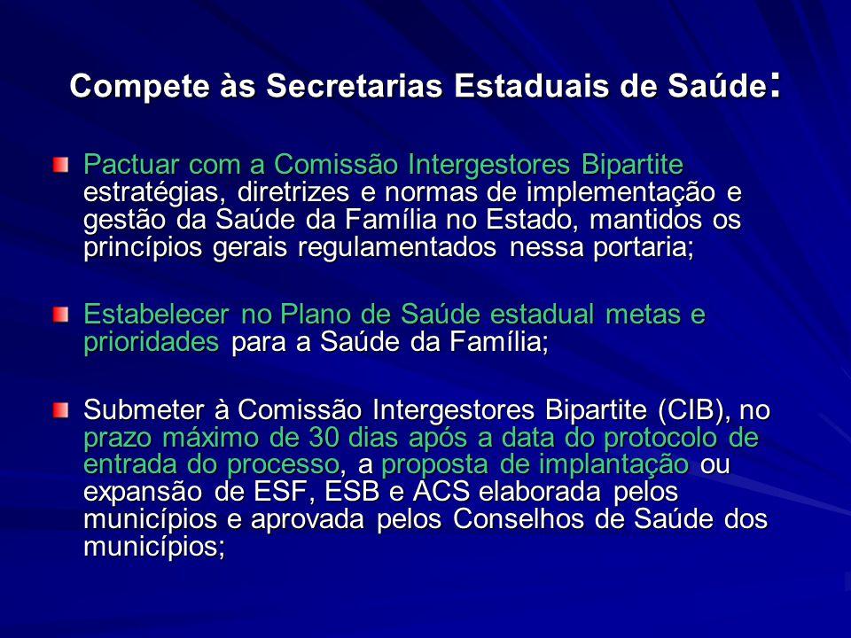 Compete às Secretarias Estaduais de Saúde: