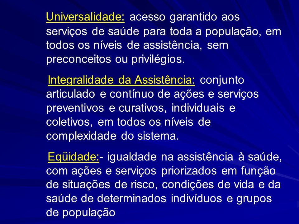 Universalidade: acesso garantido aos serviços de saúde para toda a população, em todos os níveis de assistência, sem preconceitos ou privilégios.