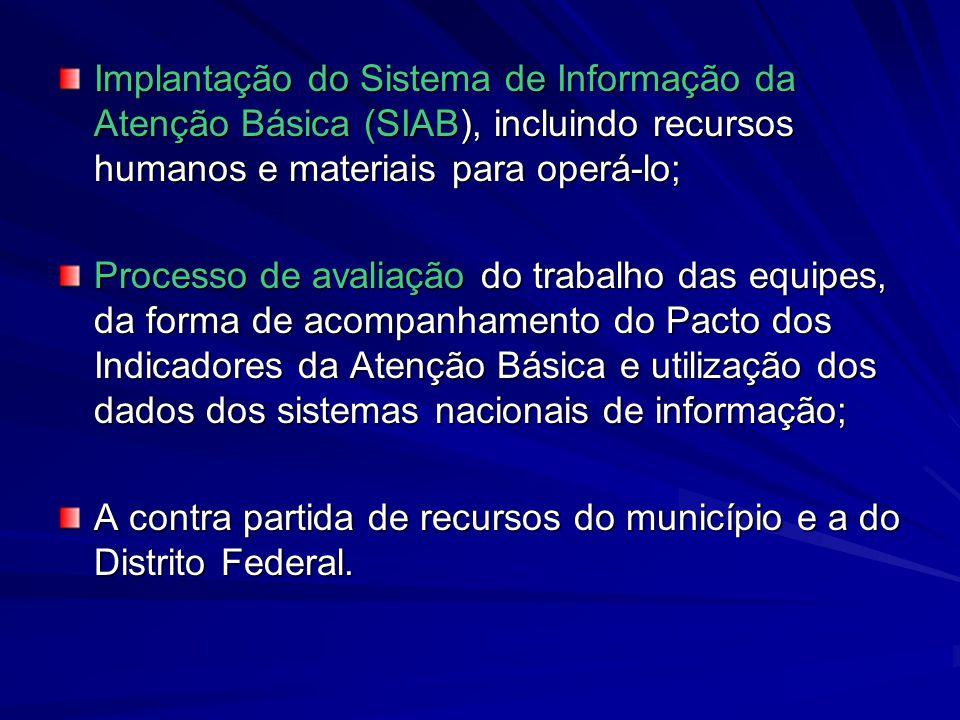 Implantação do Sistema de Informação da Atenção Básica (SIAB), incluindo recursos humanos e materiais para operá-lo;