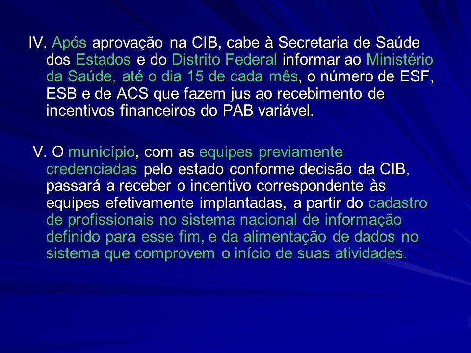 IV. Após aprovação na CIB, cabe à Secretaria de Saúde dos Estados e do Distrito Federal informar ao Ministério da Saúde, até o dia 15 de cada mês, o número de ESF, ESB e de ACS que fazem jus ao recebimento de incentivos financeiros do PAB variável.