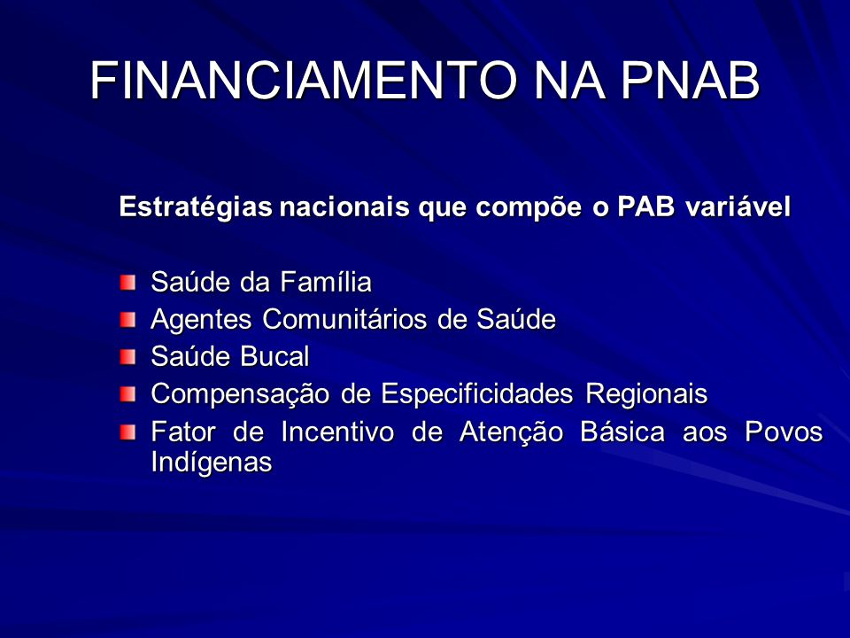 FINANCIAMENTO NA PNAB Estratégias nacionais que compõe o PAB variável