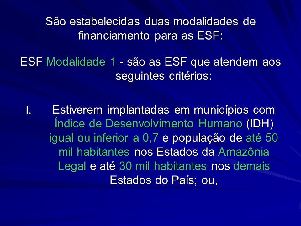 São estabelecidas duas modalidades de financiamento para as ESF: