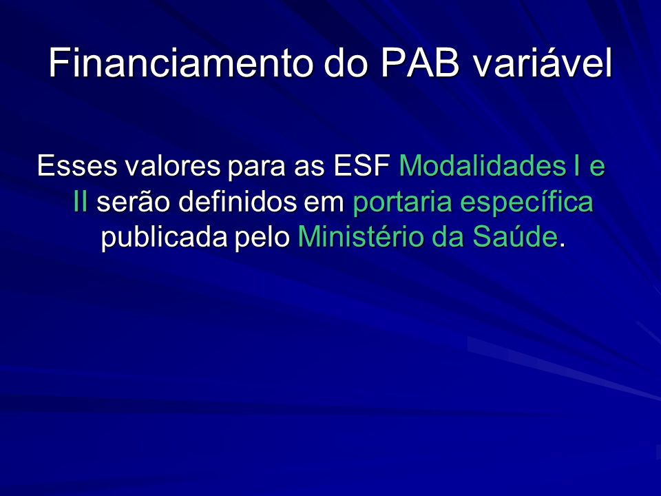 Financiamento do PAB variável