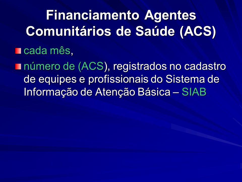 Financiamento Agentes Comunitários de Saúde (ACS)