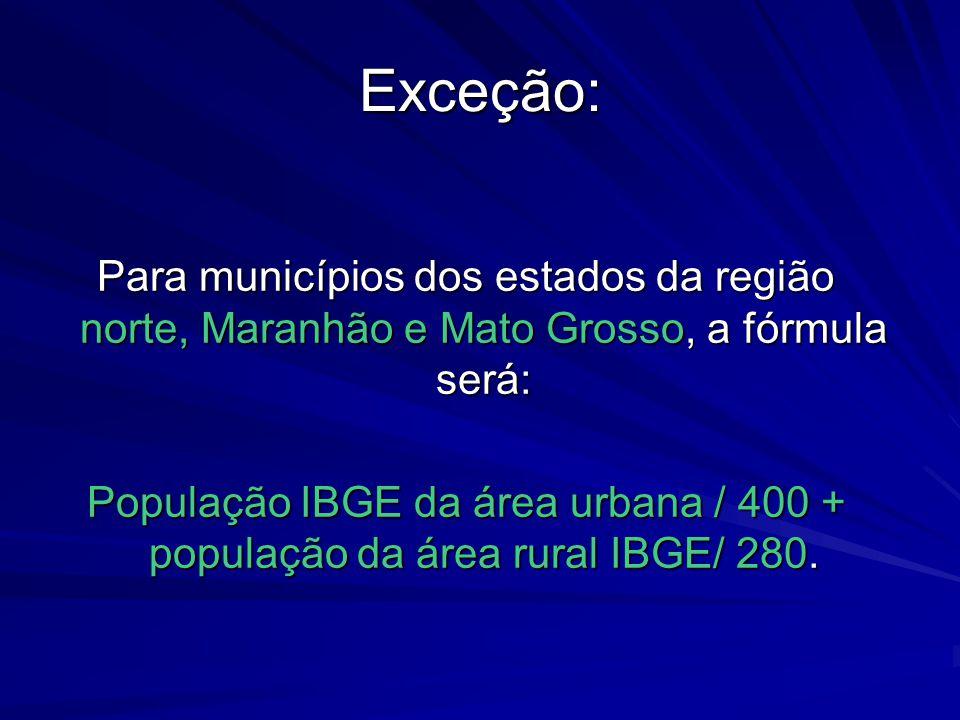 Exceção: Para municípios dos estados da região norte, Maranhão e Mato Grosso, a fórmula será: