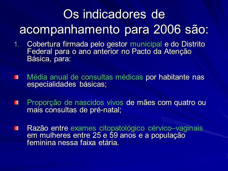 Os indicadores de acompanhamento para 2006 são: