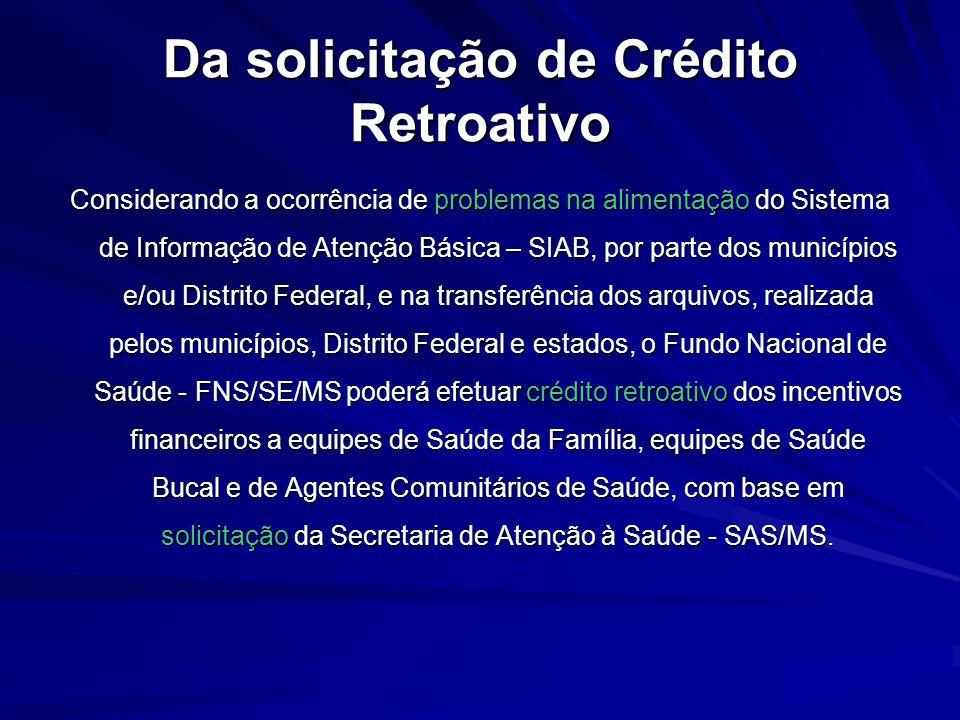 Da solicitação de Crédito Retroativo