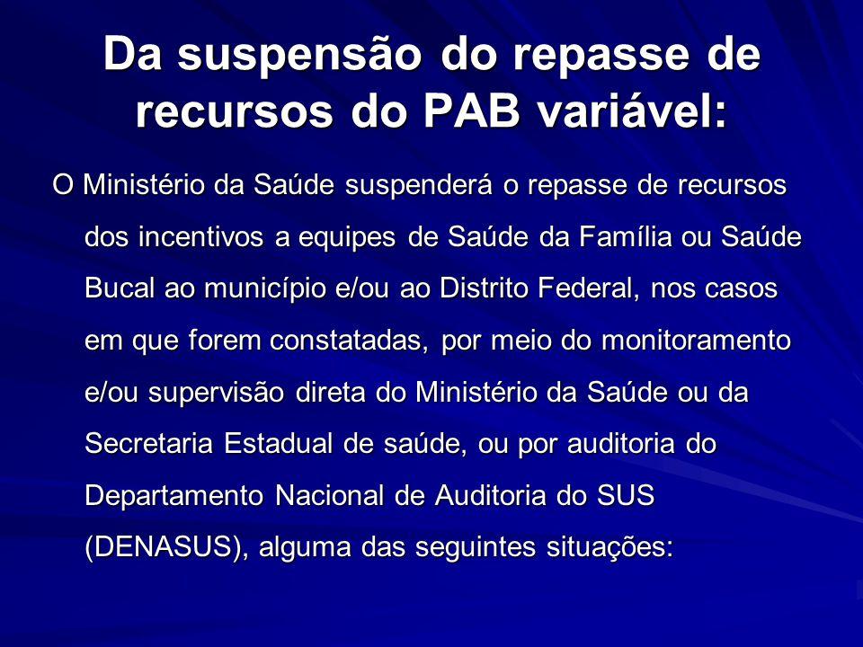 Da suspensão do repasse de recursos do PAB variável: