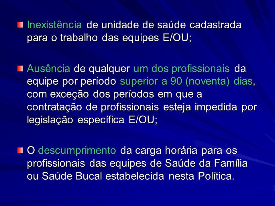 Inexistência de unidade de saúde cadastrada para o trabalho das equipes E/OU;