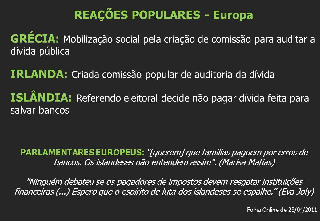 REAÇÕES POPULARES - Europa