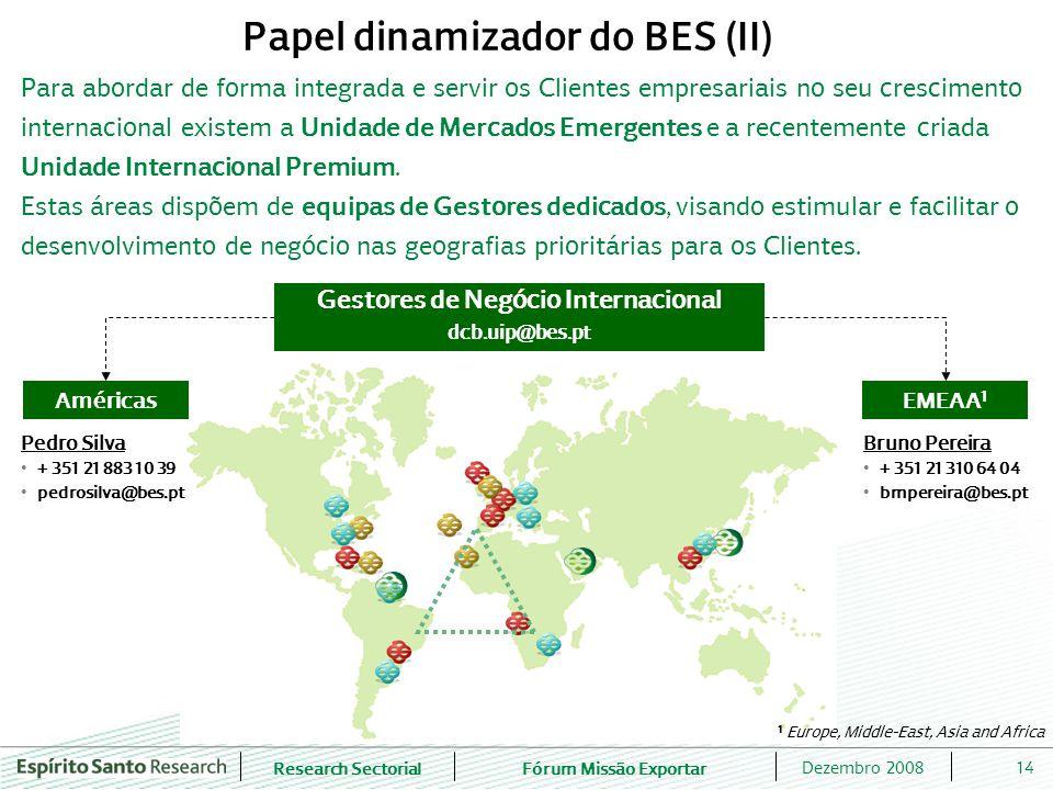 Papel dinamizador do BES (II) Gestores de Negócio Internacional