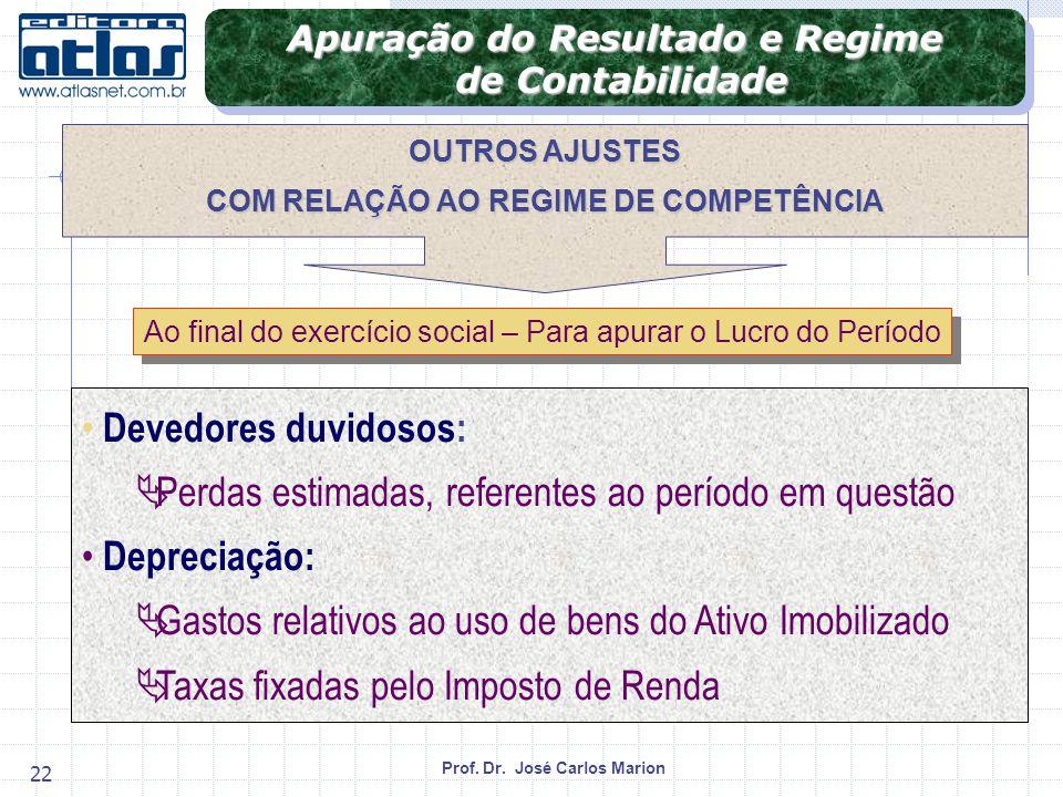 Apuração do Resultado e Regime COM RELAÇÃO AO REGIME DE COMPETÊNCIA
