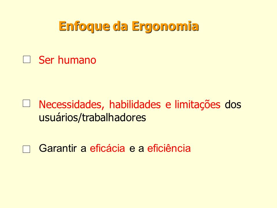 Enfoque da Ergonomia Ser humano