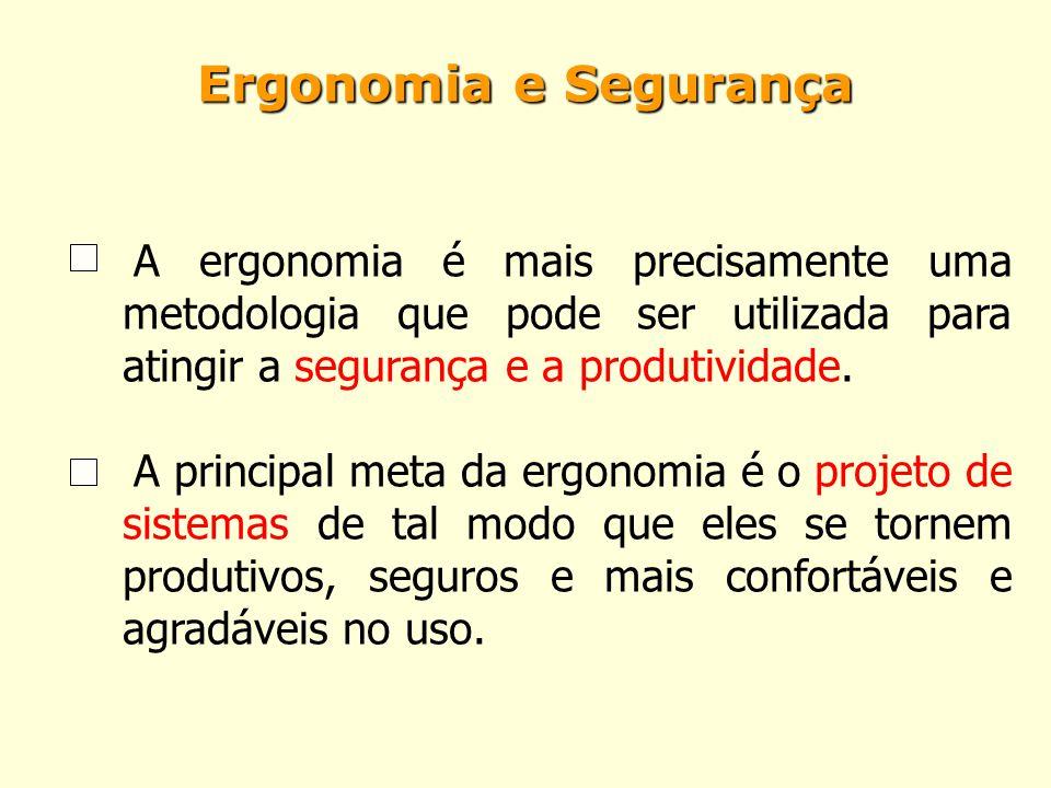 Ergonomia e Segurança A ergonomia é mais precisamente uma metodologia que pode ser utilizada para atingir a segurança e a produtividade.