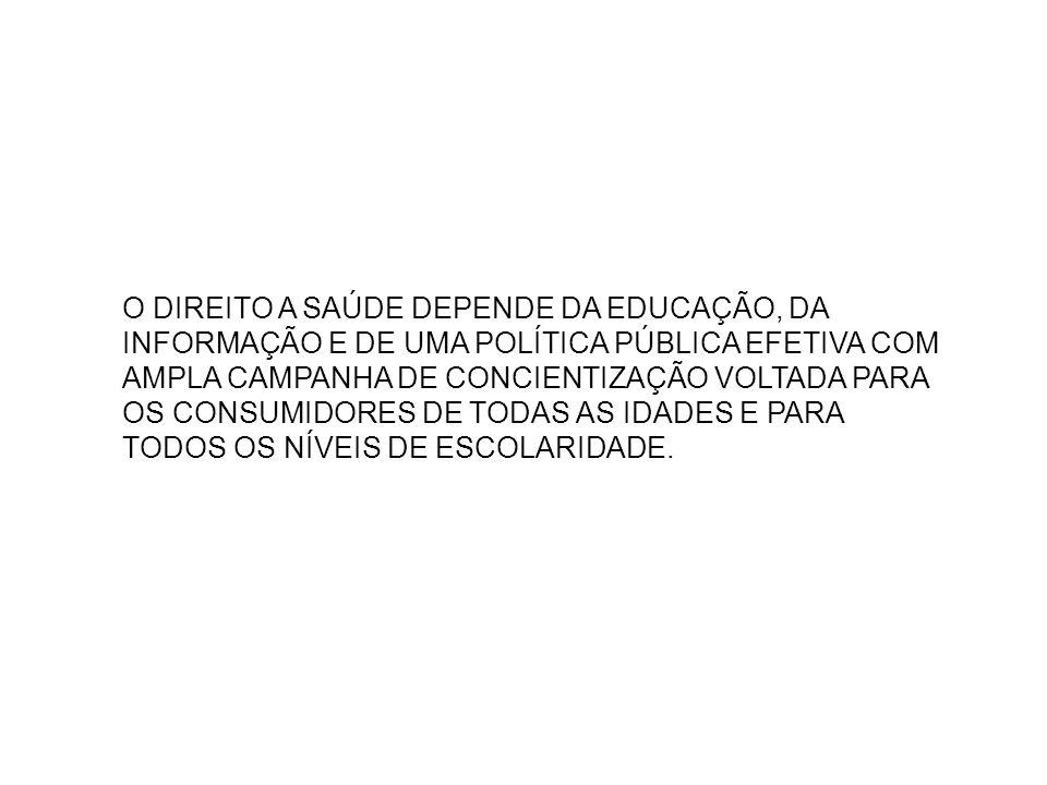 O DIREITO A SAÚDE DEPENDE DA EDUCAÇÃO, DA INFORMAÇÃO E DE UMA POLÍTICA PÚBLICA EFETIVA COM AMPLA CAMPANHA DE CONCIENTIZAÇÃO VOLTADA PARA OS CONSUMIDORES DE TODAS AS IDADES E PARA TODOS OS NÍVEIS DE ESCOLARIDADE.